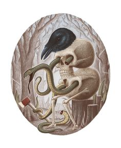 skull raven snake #skull #dark #raven #illustration