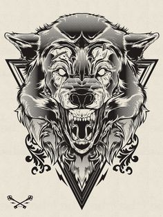 Hydro74, Halftone Print Series - Wolf & Lion | Black Pizza | Le blog pop livré à domicile. #illustration