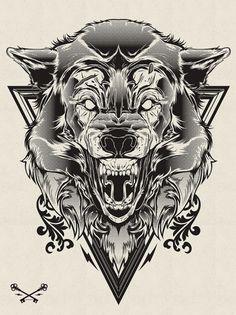 Hydro74, Halftone Print Series - Wolf & Lion | Black Pizza | Le blog pop livré à domicile. #illustration