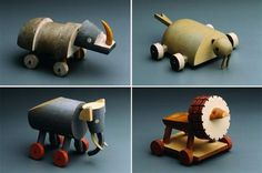 Toys by Sutnar. He's our hero! #toys #lion #elephant #wood #morse #sea