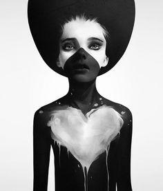 Burciaga #creative #white #woman #black #artwork #paper #art #painting #drawing