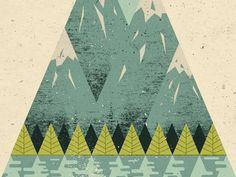 Dribbble - Mountains by Doe Eyed #flat #water #sky #doe #illustration #mountains #trees #eyed