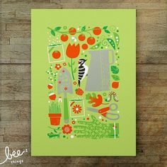 garden woodpecker limited edition print by beethings on Etsy #scissors #peas #woodpecker #garden #gloves #minimalist #tomatoes #green