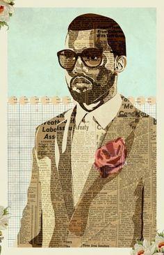Kanye | Illustration | KyleMosher.com #cut #kanye #illustration #collage #paper