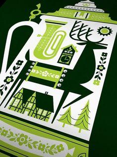 DeerStein Screen Print Poster 18 x 24 by AlbertandMarie on Etsy #deer #ink #frame #marie #albert #print #etsy #beerstein #poster #deerstein