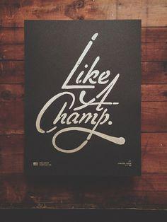 NeuarmySurplusCo_LikeAChamp_0000_01 #linocut #poster #typography