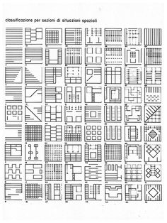 Classification through sections of spatial situations - Franco Purini: Study of Architectural Elements (1968) #urban
