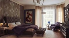 Luxury bedroom with sexy realistic painting