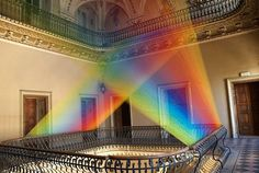 Rainbow art installation from textile from Gabriel Dawe