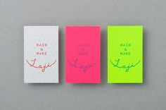 Laji Hair & Make logotype and neon paper business cards designed by UMA #branding