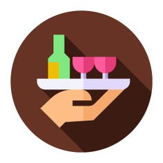See more icon inspiration related to waiter, wine, bar, bar service, food and restaurant, professions and jobs, catering, profession, wine bottle, wine glass, job, service, tray, glass, bottle, drinks and restaurant on Flaticon.