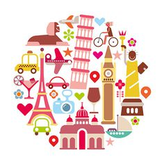Travel vector icon set #paris #roma #london #round #vacation #journey #travel #icons #landmark #york #new