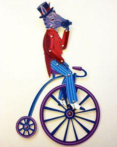 Zebra Victorian Bike Critter Paper Puppet Set #doll #puppet #zebra #bike #paper #toy