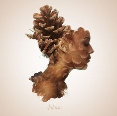 Alon Avissar #profile #woman #girl #cone #head #photography #pine #face #collage #lady #beauty