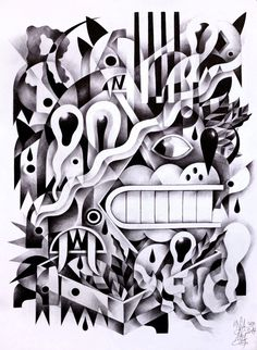 Ballpoint Drawings on Behance #white #black #and