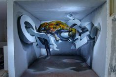 Odeith 5 walls Anamorphic 3D Graffiti Letters leopard standing inside room Lisboa Portugal
