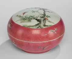 Large lidded box made of porcelain with Famille rose decor of flowering branches #Sets #Tea sets #Porcelain sets #Antique plates #Plates #Wall plates #Figures #Porcelain figurines #porcelain