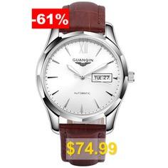 GUANQIN #GJ16034 #Men #Auto #Mechanical #Watch #- #WHITE