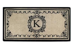 "Create your own style with this decorative Border Coco Fiber Door Mat. Durable and beautiful, this mat keeps shoes clean to protect your floors from mud, dirt and grime. It is flexible, robust and durable. This mat provides exceptional brushing action on footwear with excellent water absorption. Specification - Monogrammed Double Doormat with (K-Letter). Product Dimensions - *36"" x 72"" x 1.5"""