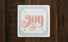 Miles Design 2013 Holiday Coaster Set #christmas #joy #coasters #letterpress