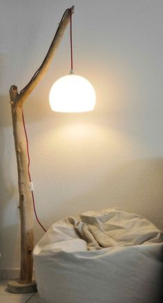 Wooden reading lamp shade floated hemisphere #hanging #lamp #driftwood