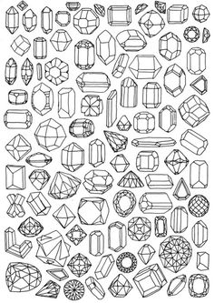 A variety of gems and crystals #collection #drawing #crystal #line drawing #gem