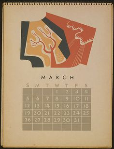 Posters from the WPA: Federal Art Project Calendar March #illustration