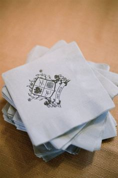wedding crest napkins #crest