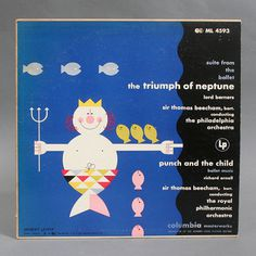 Thriumph of Neptune LP Cover by Herbert Leupin #swiss #modern #fish #record #cover #illustration #mid #vintage #century #neptune