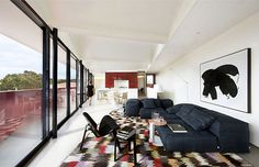 Renovated Warehouse with Marsala Color Facade renovated warehouse living room #sofa #marsala #decor #living #room