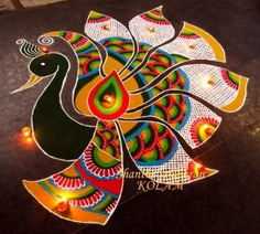 Peacock Rangoli Design for Diwali
