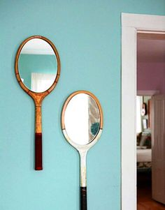 DIY Vintage Tennis Racket Mirrors #interior design #apartment #tennis #mirror #turquoise