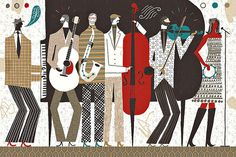 Michael Mullan #illustration #music band #instruments