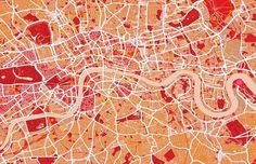 Piccsy :: London Map Art Red #map #red #orange