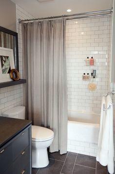 White Subway Tile and Slate Floor #white #tile #slate #floor #subway #and