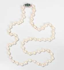 Culture Pearls-Emerald And Diamond Sautoir