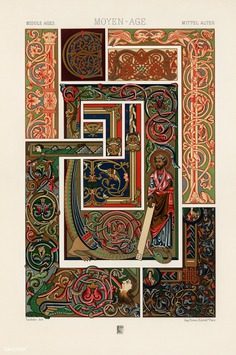 Medieval pattern from L'ornement Polychrome (1888) by Albert Racinet (1825–1893). Digitally enhanced from our own...