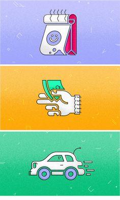 Drive-thru illustration set via Patrick Iadanza #fast #food #money #car