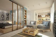 Cozy studio – 40 square meters transformed by Curly Design #apartments, #studio, #design, #interiors, #homeworlddesign