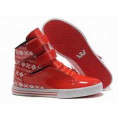 mens white and red supra tk society high tops skate trainers #shoe