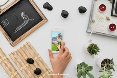Yoga decoration with smartphone Free Psd. See more inspiration related to Mockup, Spa, Health, Cute, Yoga, Smartphone, Chalkboard, Mock up, Plant, Decoration, Drawing, Cactus, Bamboo, Healthy, Decorative, Peace, Mind, Balance, Draw, Relax, Pot, Meditation, Wellness, Healthy lifestyle, Candles, Lifestyle, Up, Tablecloth, Stones, Relaxation, Composition, Mock, Peaceful, Pose, Yoga pose and Inner on Freepik.