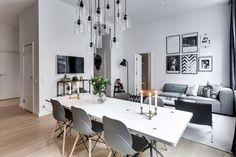 Apartment, living room, black & white, dinning room, bedroom