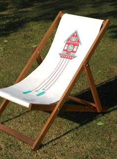 Made By Morris #printed #silkscreen #red #pink #deck #chair #blue #aqua #hand