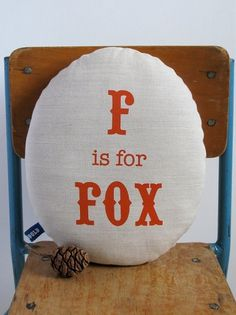 Hand Screen Printed Fox in Burnt Orange by robinandmould on Etsy #pillow #screenprint #fox