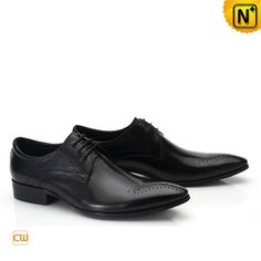 Black Leather Dress Wedding Shoes for Men CW762111