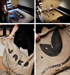 Jacu Coffee Roastery - Visual identity/Branding on the Behance Network #bag #paint #spray