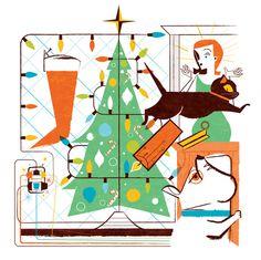 Christmas #tree #reifsnyder #cat #christmas #illustration #colors #holiday #scotty #dog