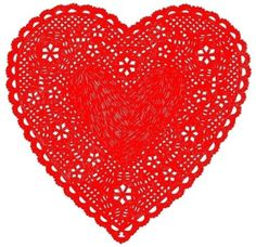 coqueterías - Much Love Red by ashleyg on Etsy #heart #papercut #doily #red