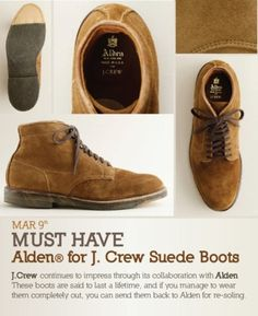 http://gestaltic.tumblr.com/post/19005613228/alden-for-j-crew-suede-boots #fashion