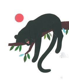 """Veronique Joffre, """"Africa in Crouch End"""" exhibition, colagene.com #woman #africa #block #illustration #nature #panther #paper #cutout"""